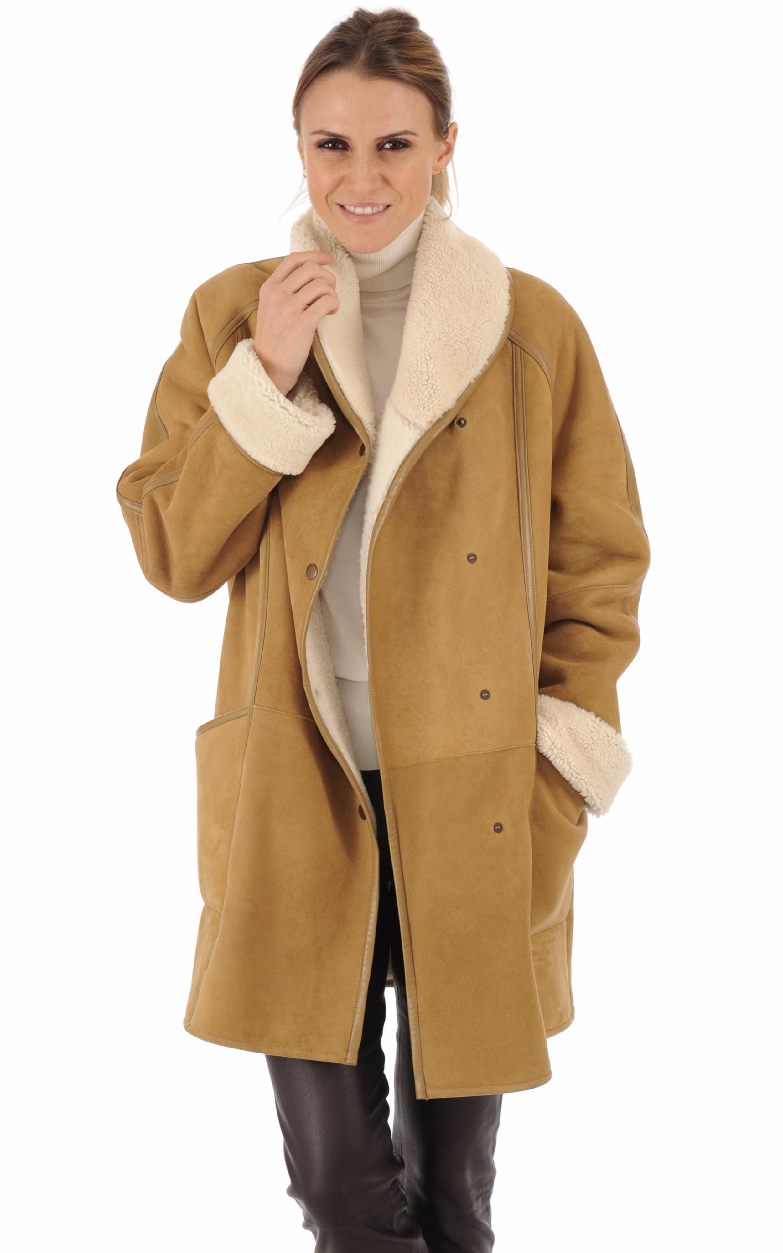 Veste agneau camel esprit vintage La Canadienne