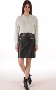 Jupe Cuir Miho Noir Taille Haute