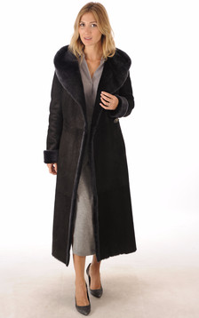 Manteau Peau Lainée Noir Bleuté