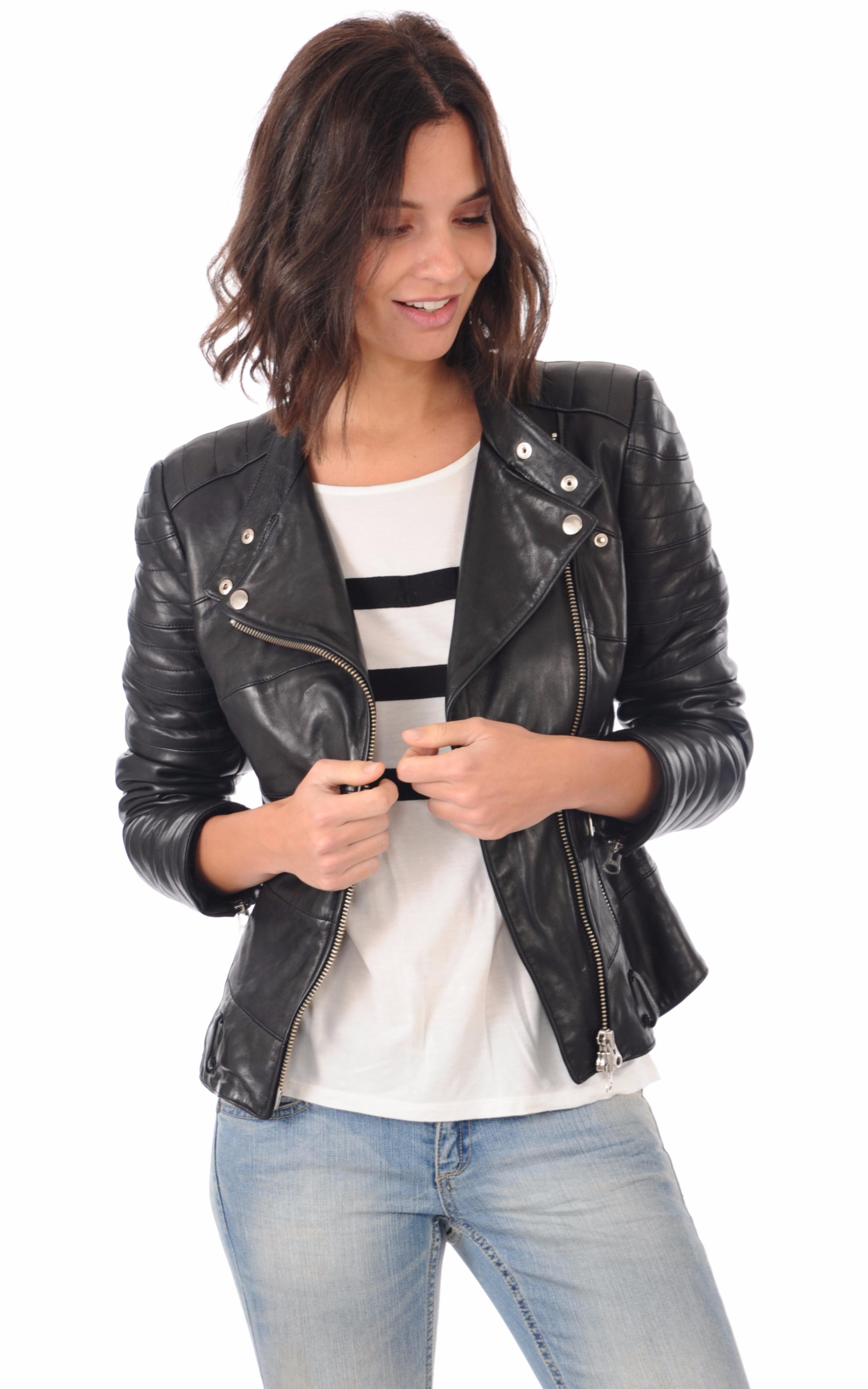 blouson motard cuir femme la canadienne la canadienne blouson cuir noir. Black Bedroom Furniture Sets. Home Design Ideas