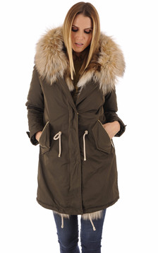 Parka Toile et Fourrure Kaki Femme