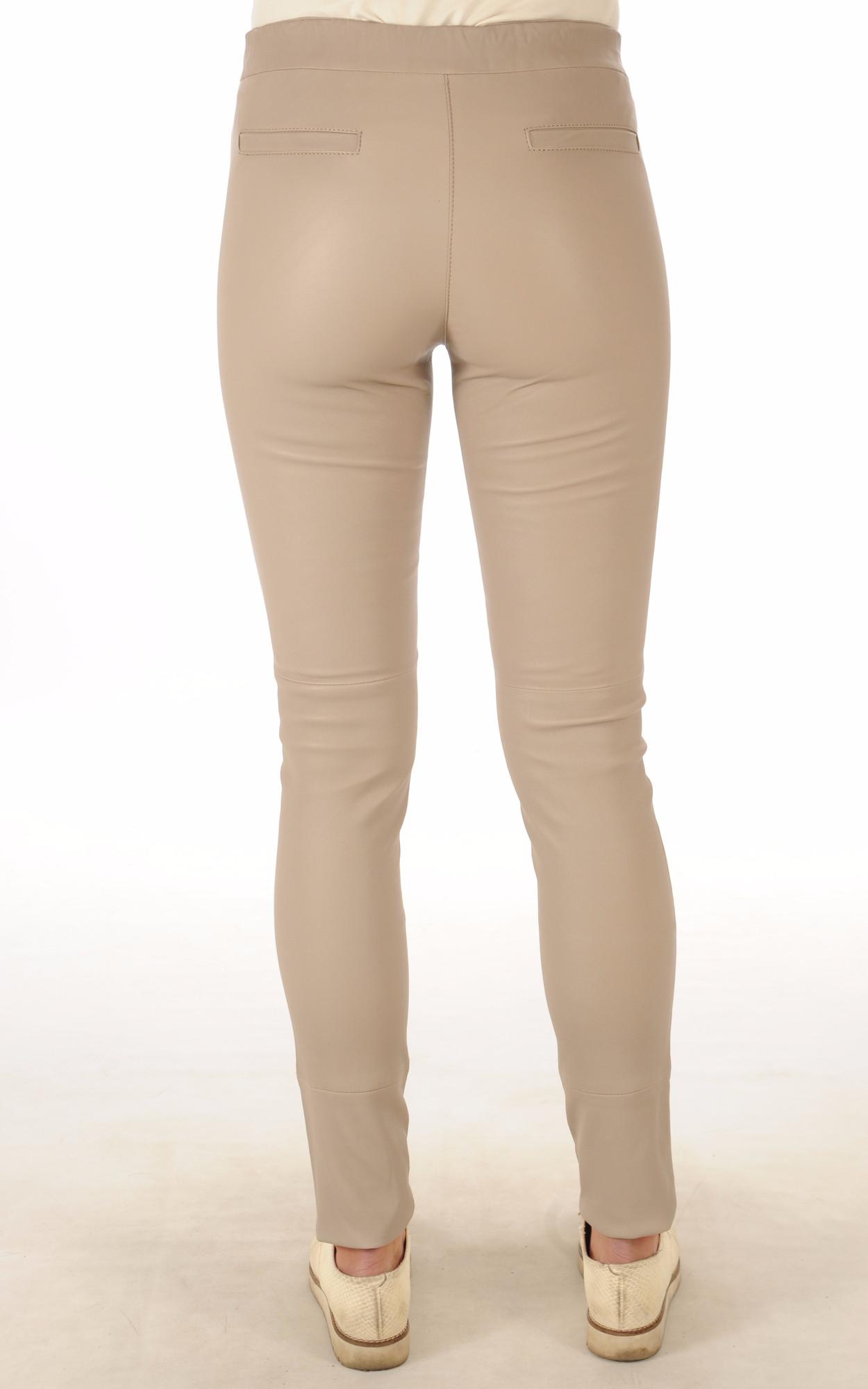 Pantalon Cuir Stretch Crème
