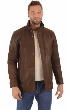 Veste cuir agneau marron homme