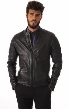 Blouson Cuir Noir Style Motard1