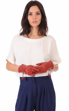 Gants  Fins Cuir Rouge Femme