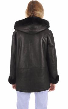 Veste Confort Peau Lainée Noire Femme