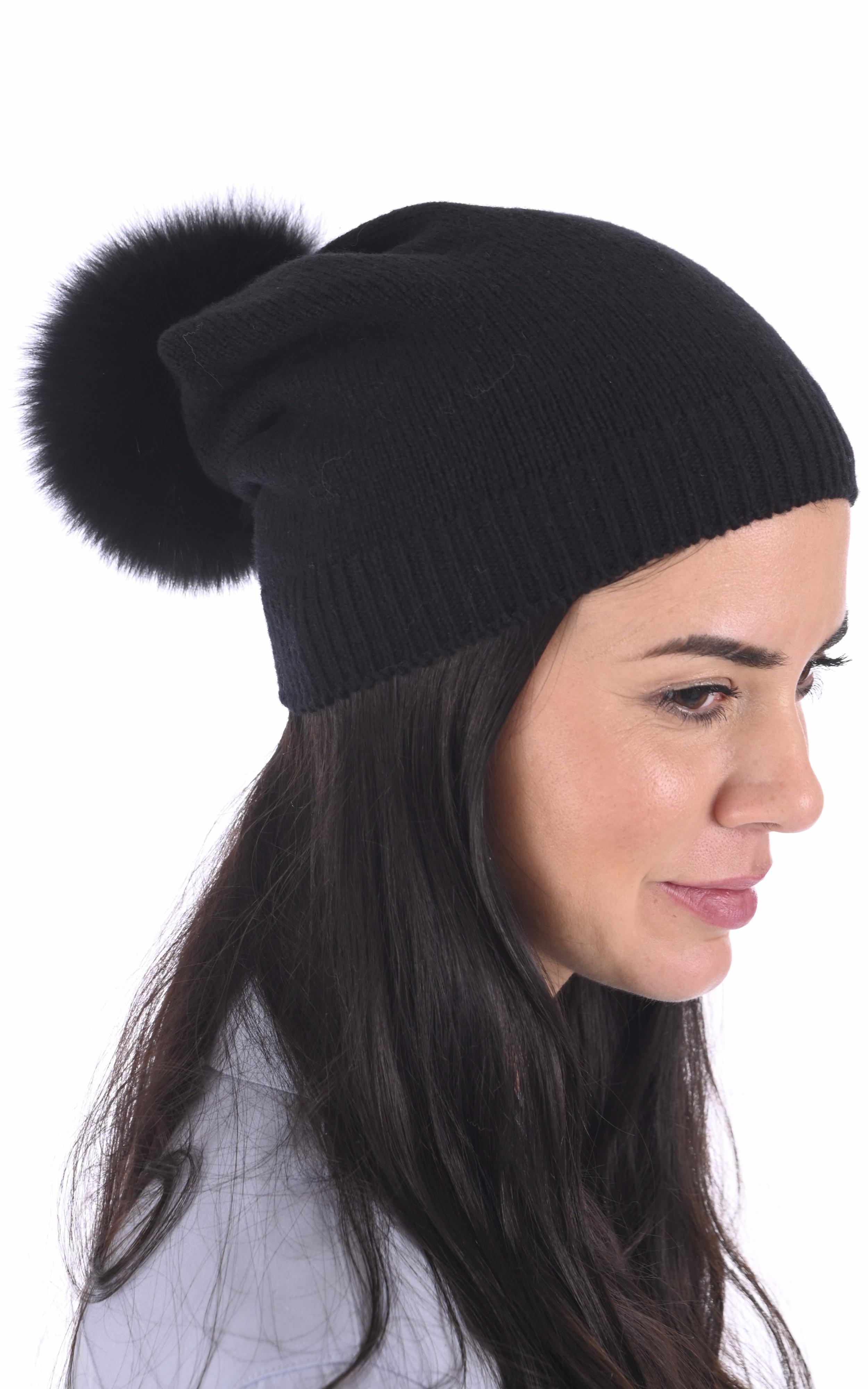 Bonnet cachemire et renard noir Lea Clement