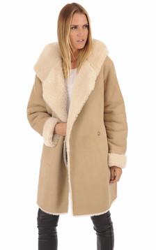 Manteau peau lainée Floride beige1