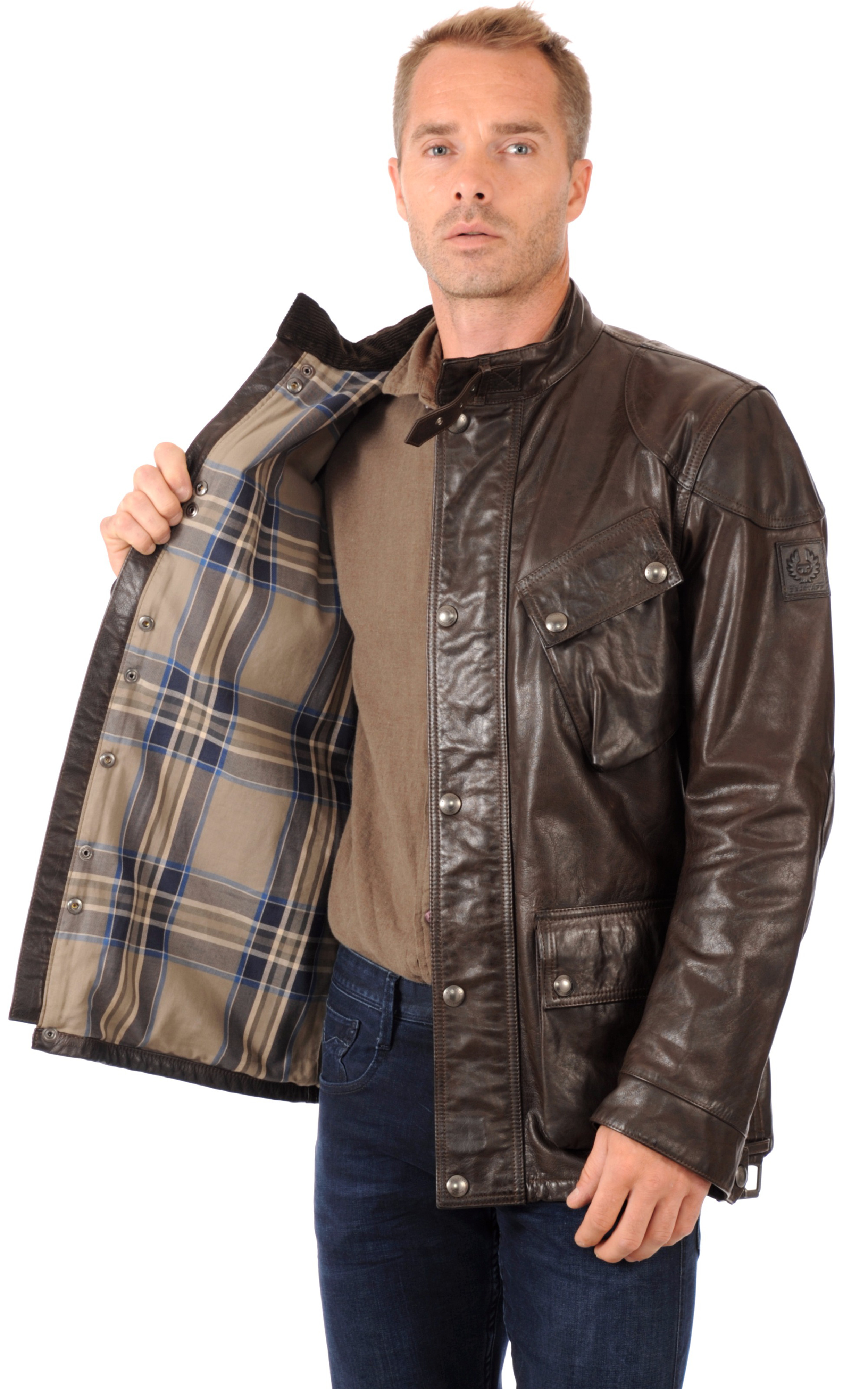 veste saharienne cuir homme belstaff la canadienne. Black Bedroom Furniture Sets. Home Design Ideas