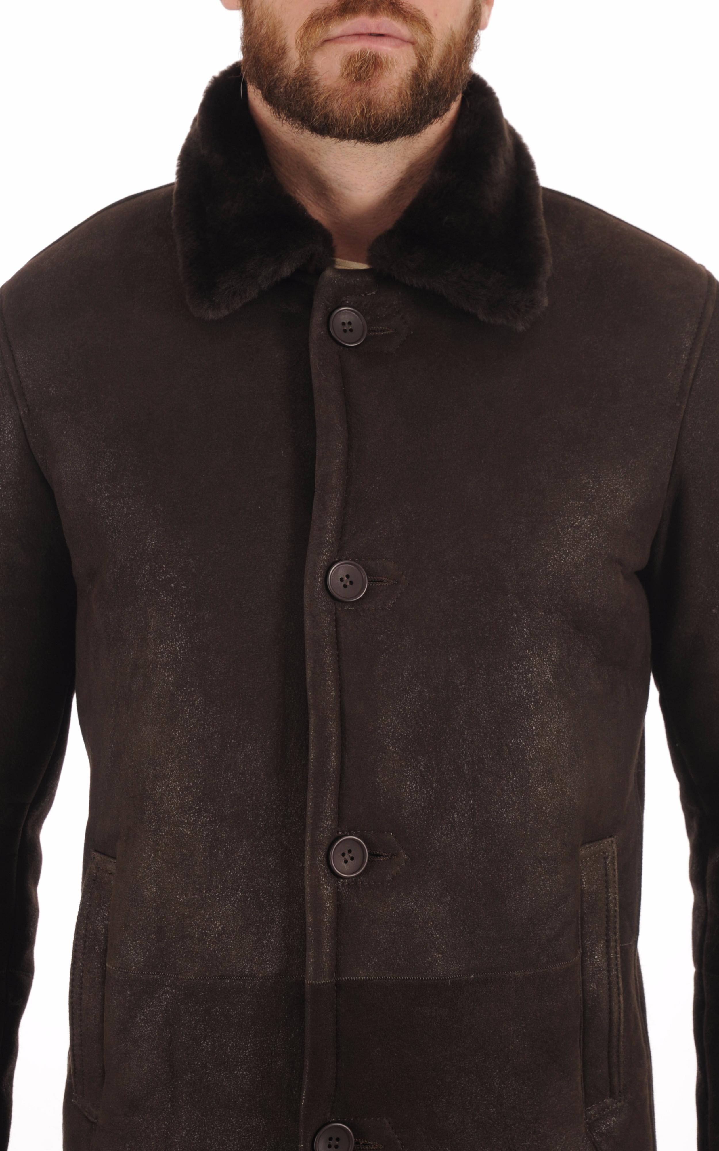Veste en Peau lainée Marron Homme Smarty