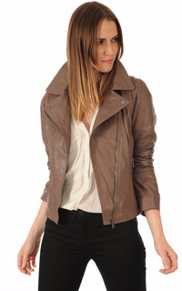 Blouson en cuir Lovely marron