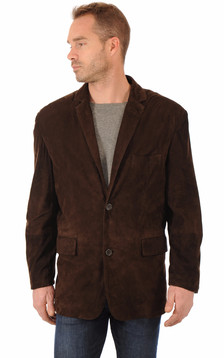 Blazer Cuir Velours Marron1