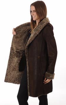 Manteau peau lainée marron