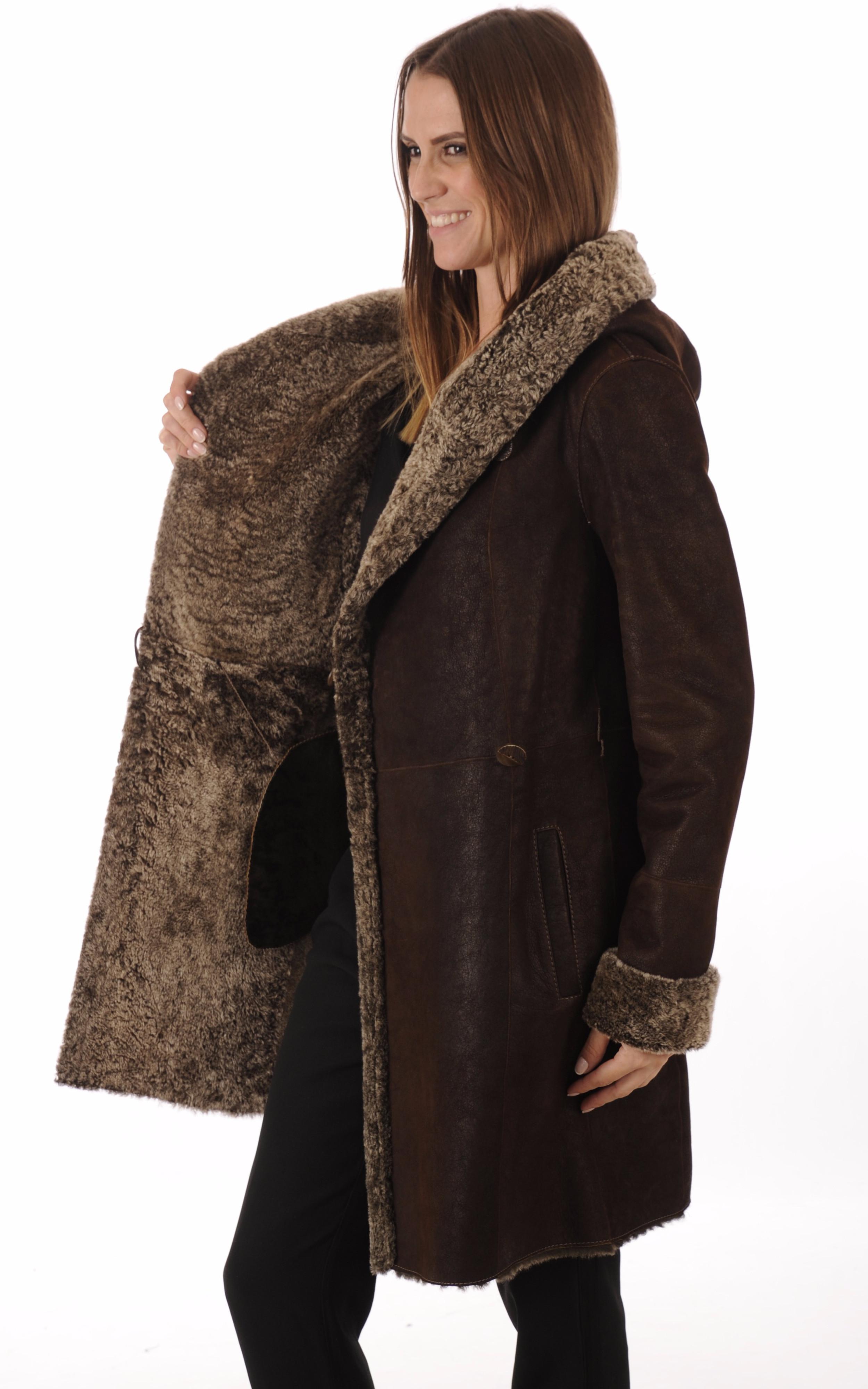 Manteau peau lainée marron La Canadienne