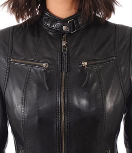 Motard Cuir Blouson Style Canadienne La Femme tFxzz7qw