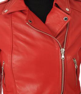 Blouson Yoko en cuir rouge Oakwood