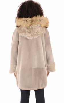Manteau peau lainée Eugénie beige