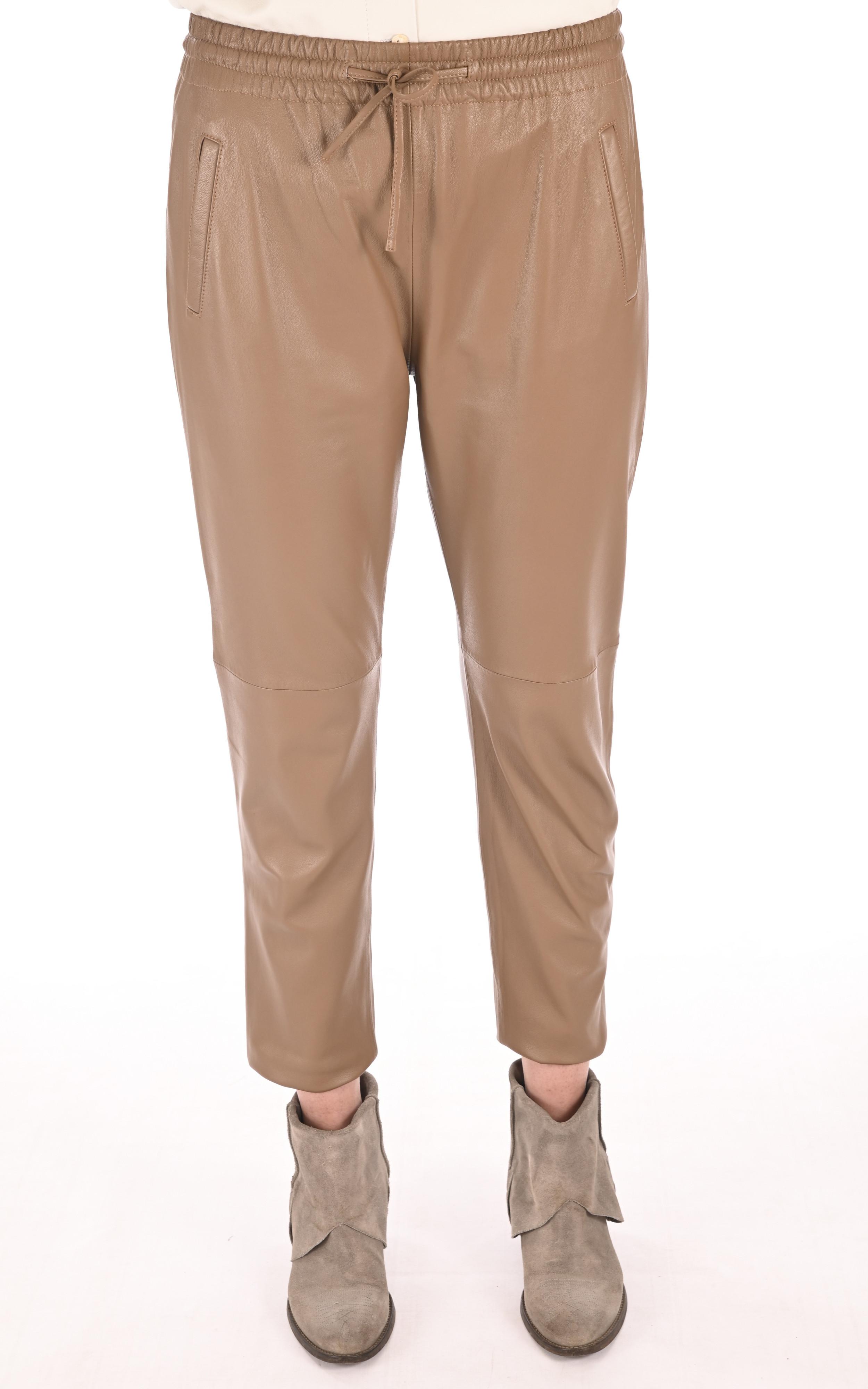Pantalon jogpant cuir café Oakwood
