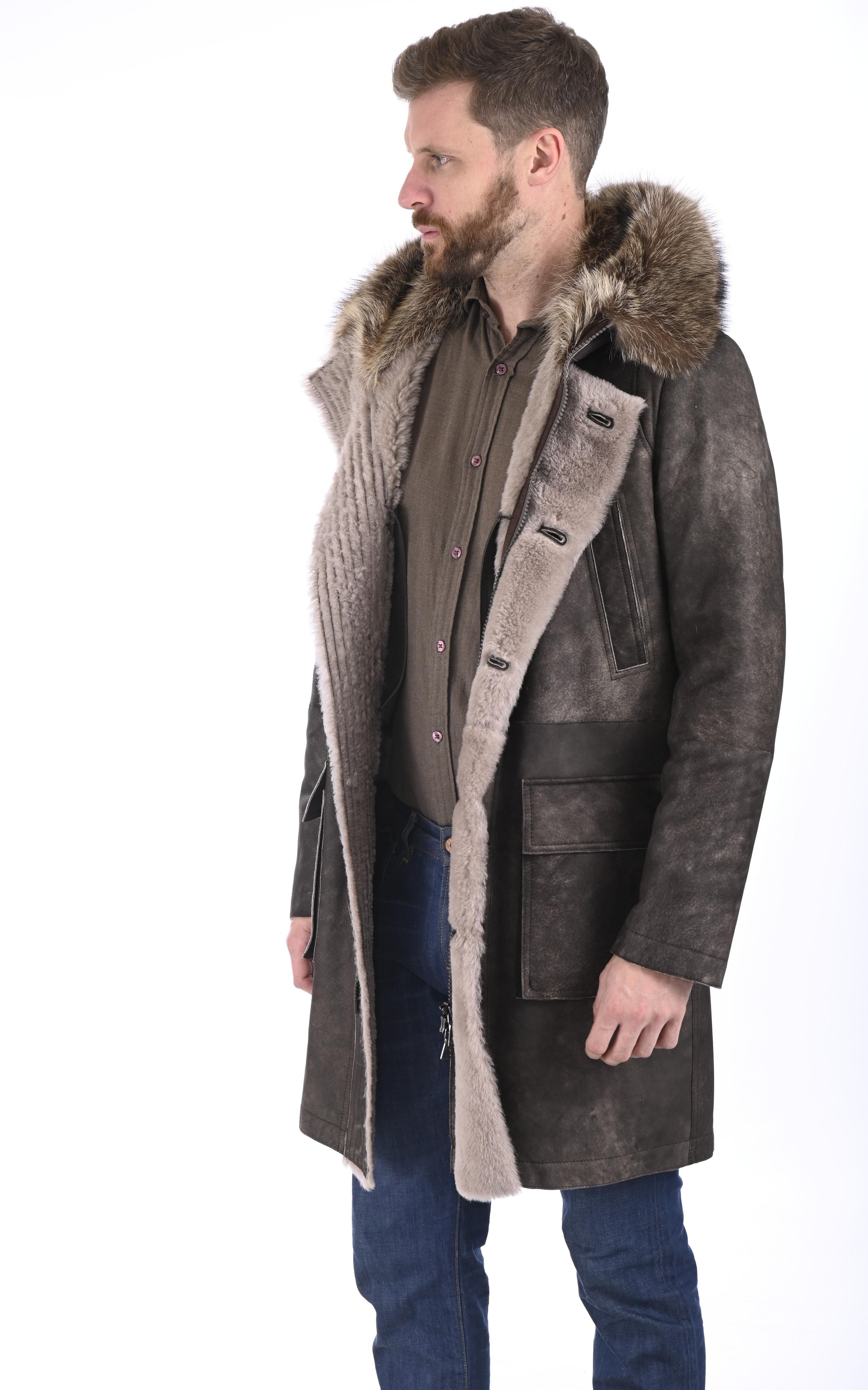 Manteau agneau et marmotte taupe Artico