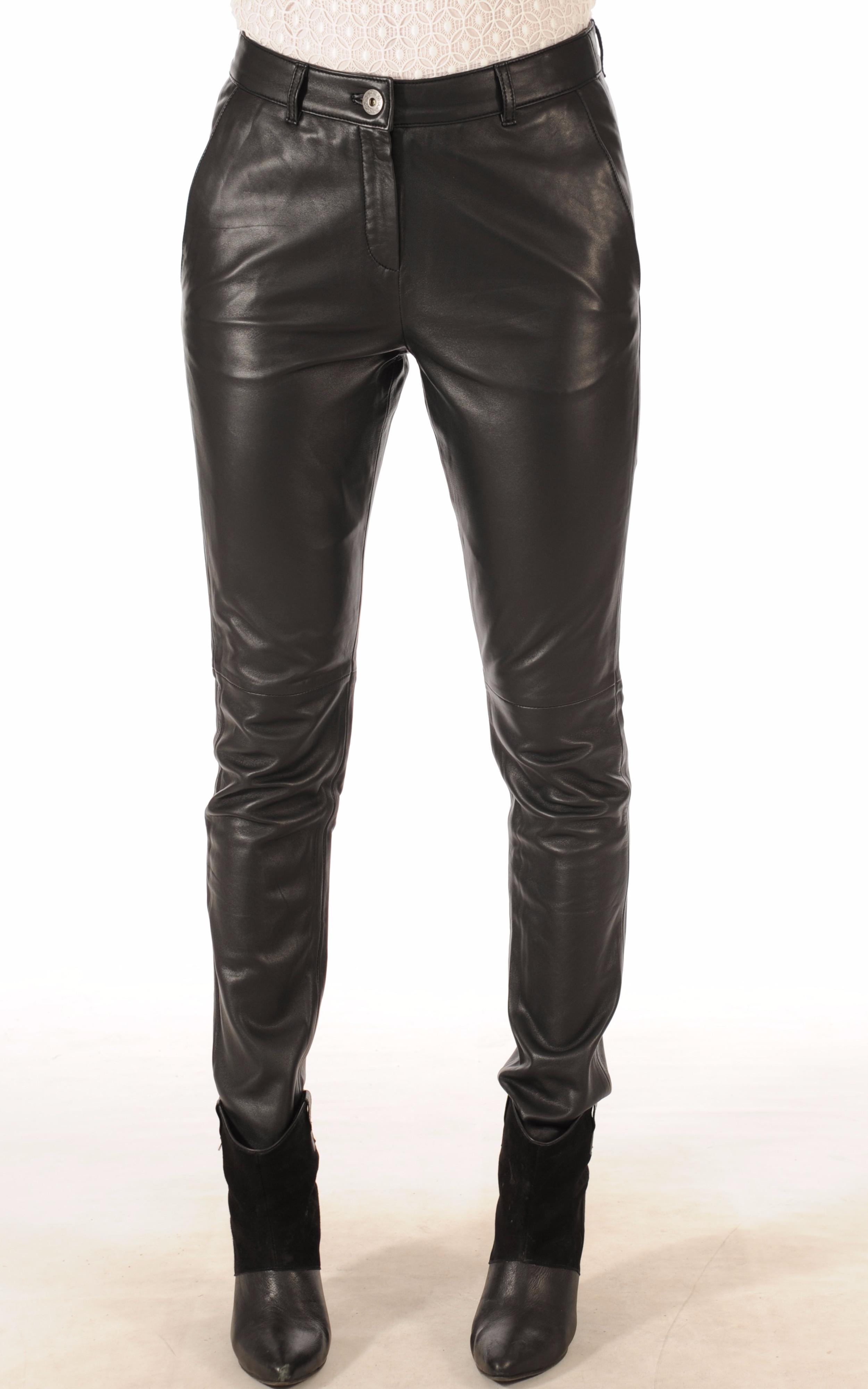 Pantalon Cuir Noir Coupe Ajustée Oakwood