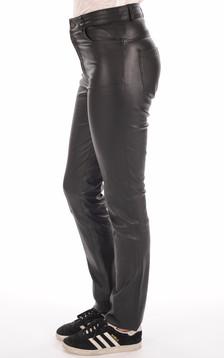 Pantalon Slim Cuir Stretch Noir Femme