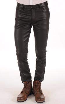 Pantalon Cuir Stretch Noir Homme1