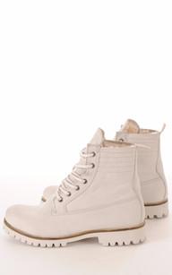 Boots Cuir & Mouton Gris Clair