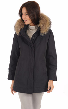 Parka Confortable Bleu Fourrure Bicolore1