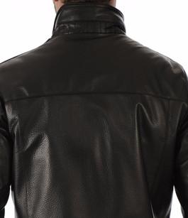Veste en Cuir Grainé Noir Homme Smarty