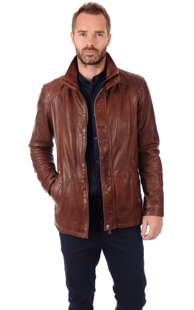 veste cuir homme bison daytona 73 la canadienne veste 3 4 cuir bison. Black Bedroom Furniture Sets. Home Design Ideas