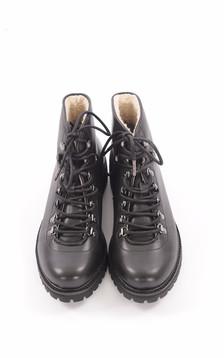 Boots Cuir Fourrées Mouton Noir Femme1