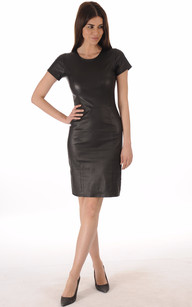 Robe Cuir Stretch Noir