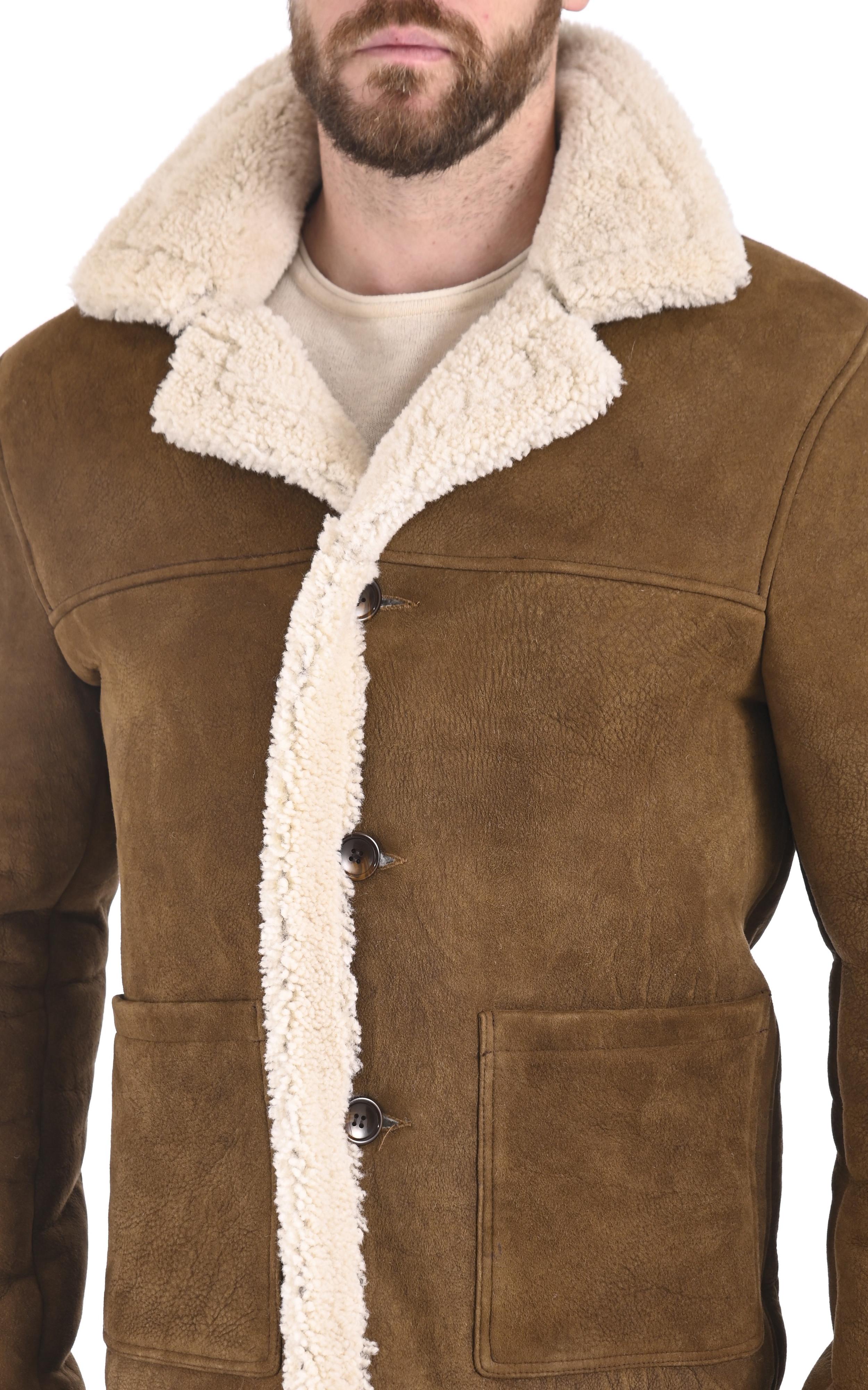 Veste peau lainée camel Serge Pariente