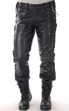 Pantalon Cuir Lacets Homme