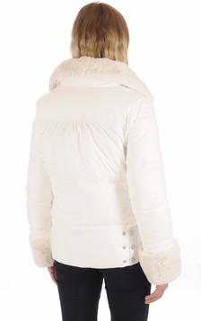 Doudoune blanche  Femme à col Fourrure