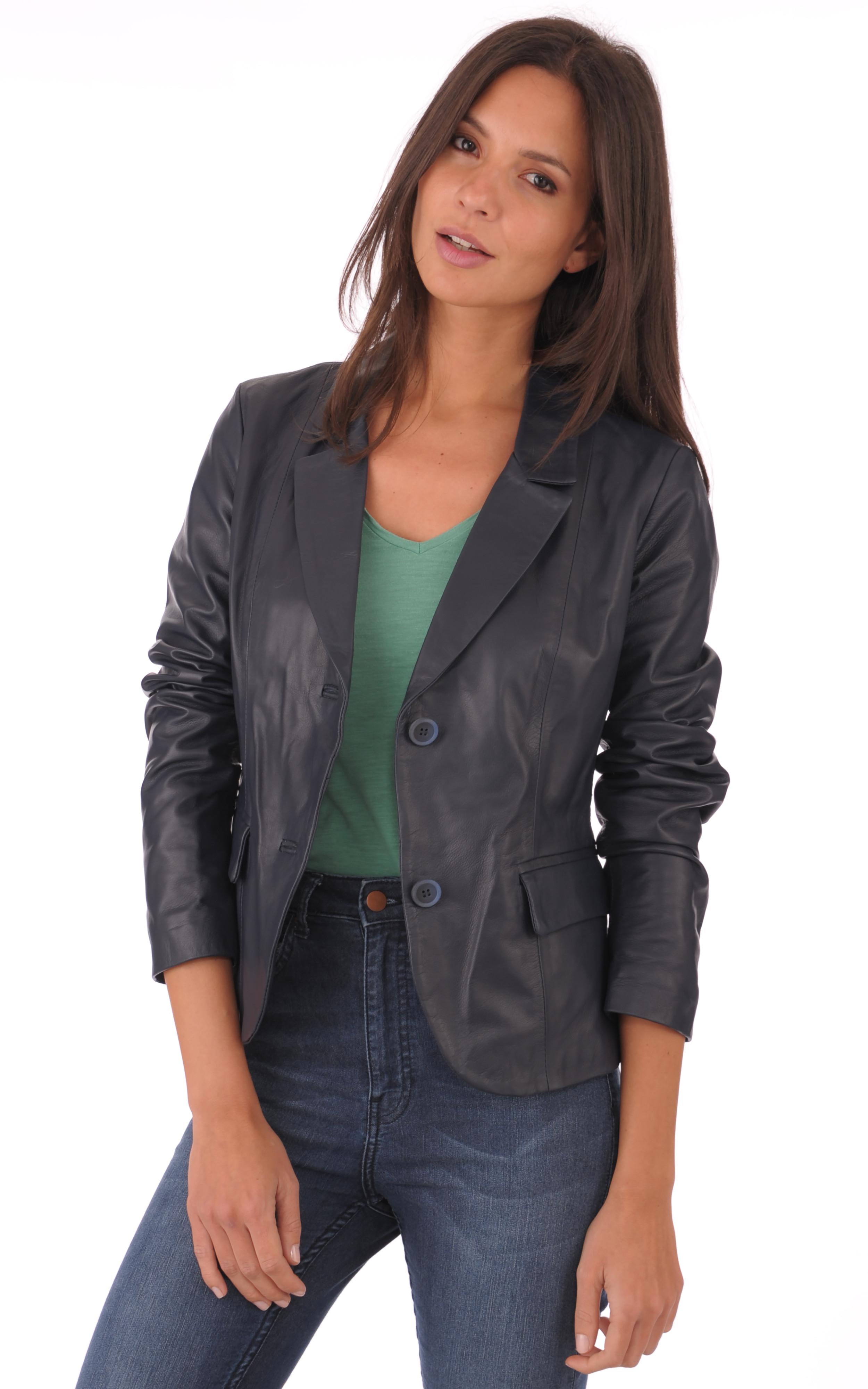 blazer cuir marine femme la canadienne la canadienne. Black Bedroom Furniture Sets. Home Design Ideas