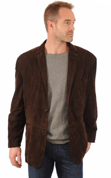 Blazer Cuir Velours Marron