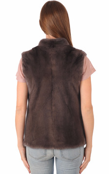 Gilet Vison Marron Femme