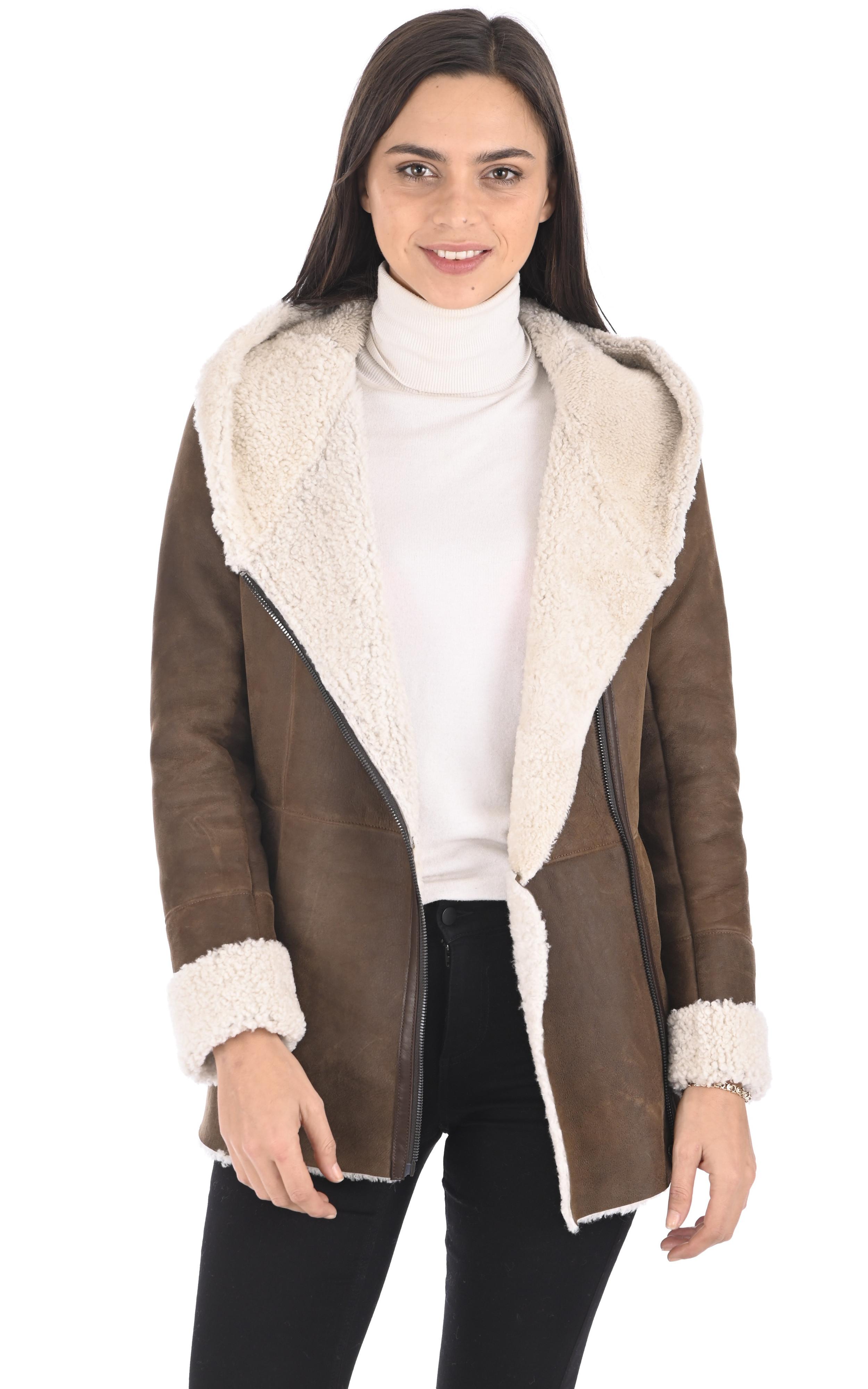 Veste peau lainée marron La Canadienne