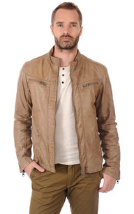 Blouson Taupe Cuir Homme