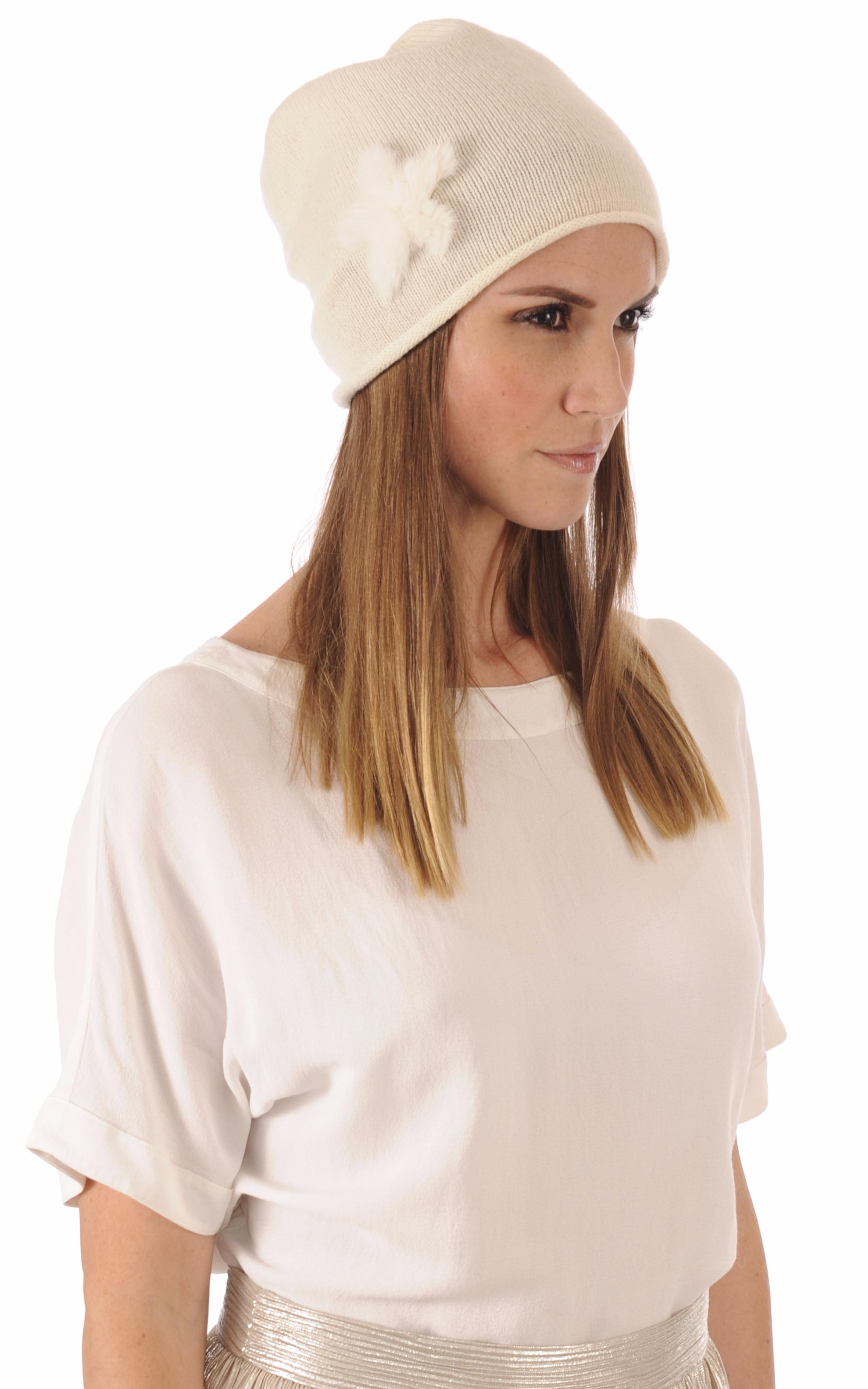 Bonnet Blanc Laine & Vison Hpi