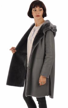 Manteau réservible peau lainée pétrole
