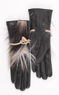Gants Noir Cuir et fourrure Femme1