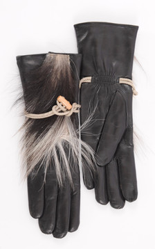 Gants Noir Cuir et fourrure Femme