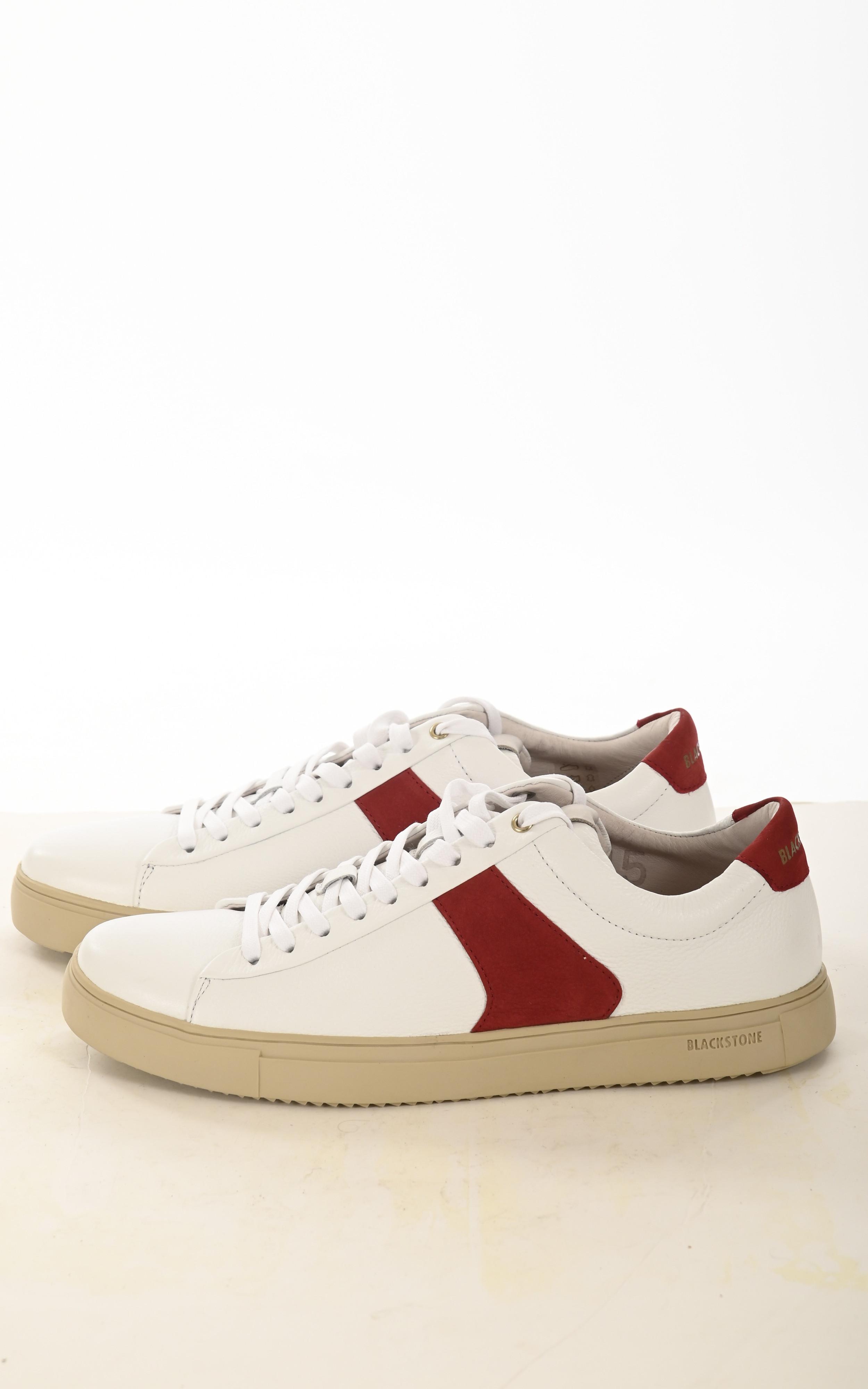 Baskets en cuir blanches et rouge Blackstone