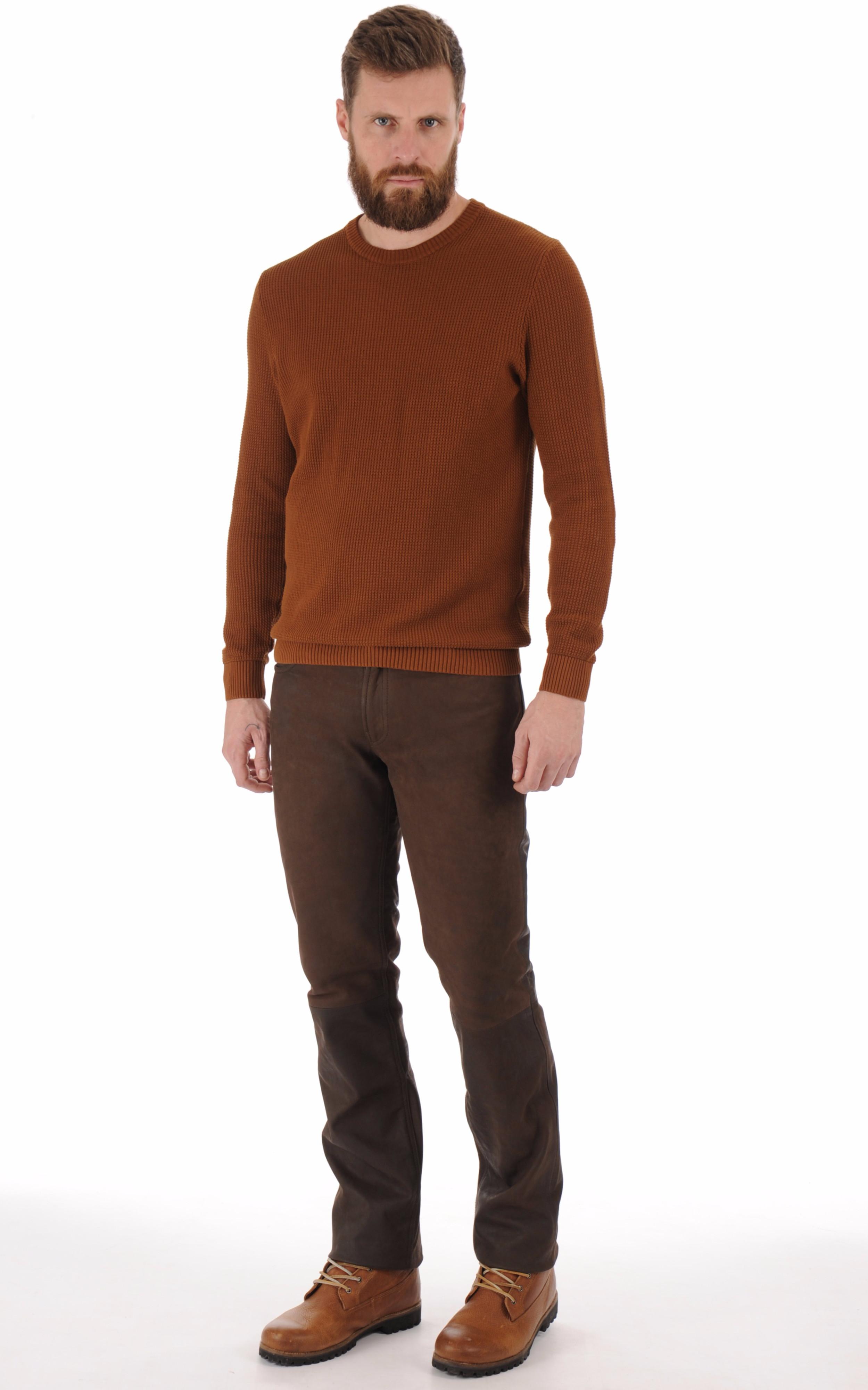 Pantalon vachette nubuck marron Maddox