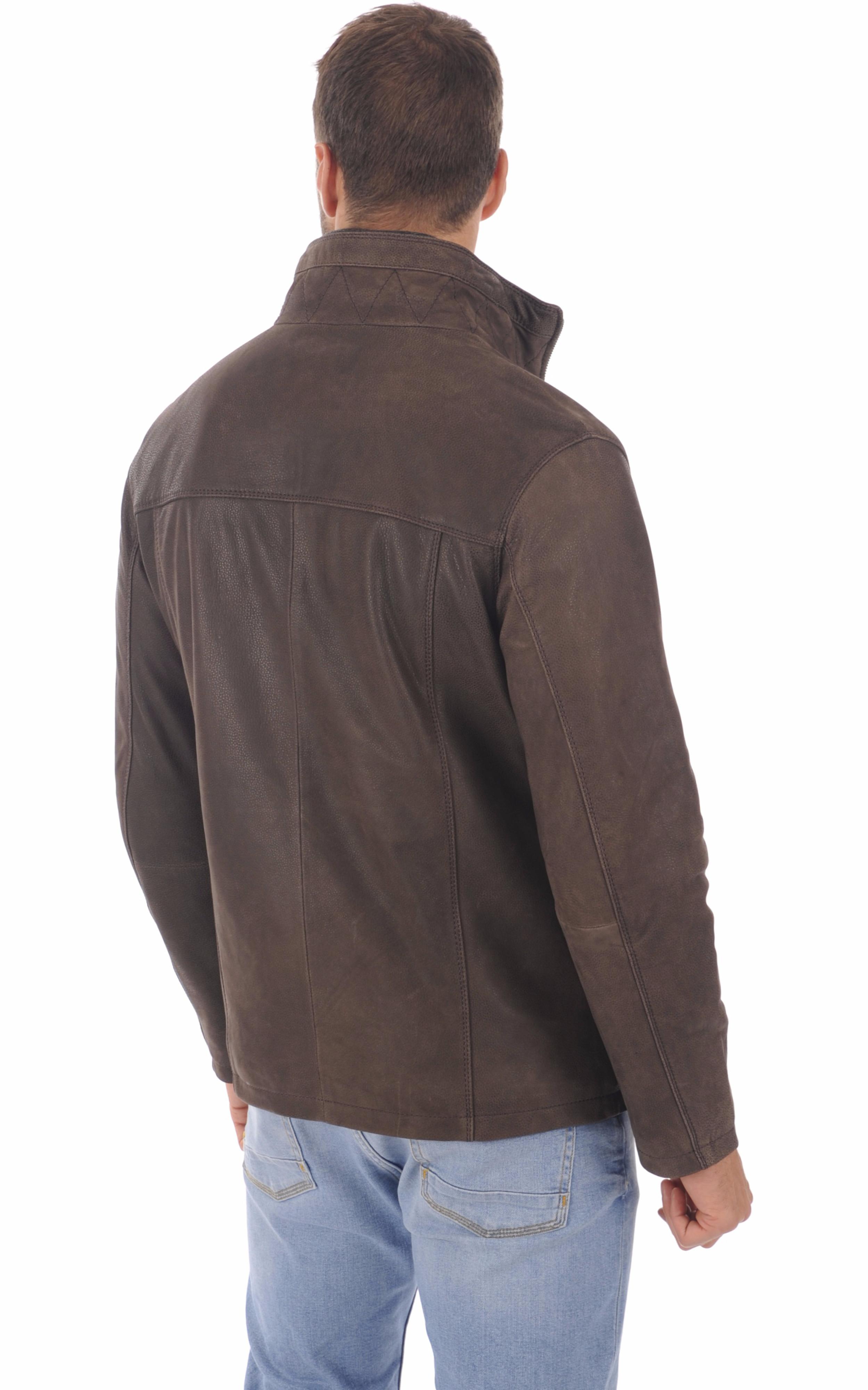 Veste cuir marron foncé homme Smarty