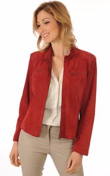 Blouson Femme Cuirs Velours Rouge1