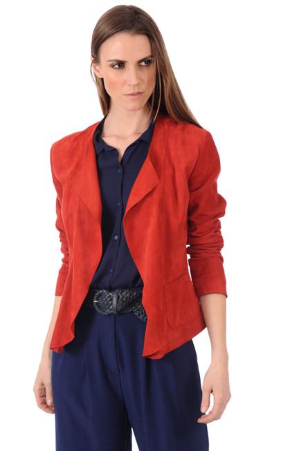 Veste cuir velours rouge La Canadienne