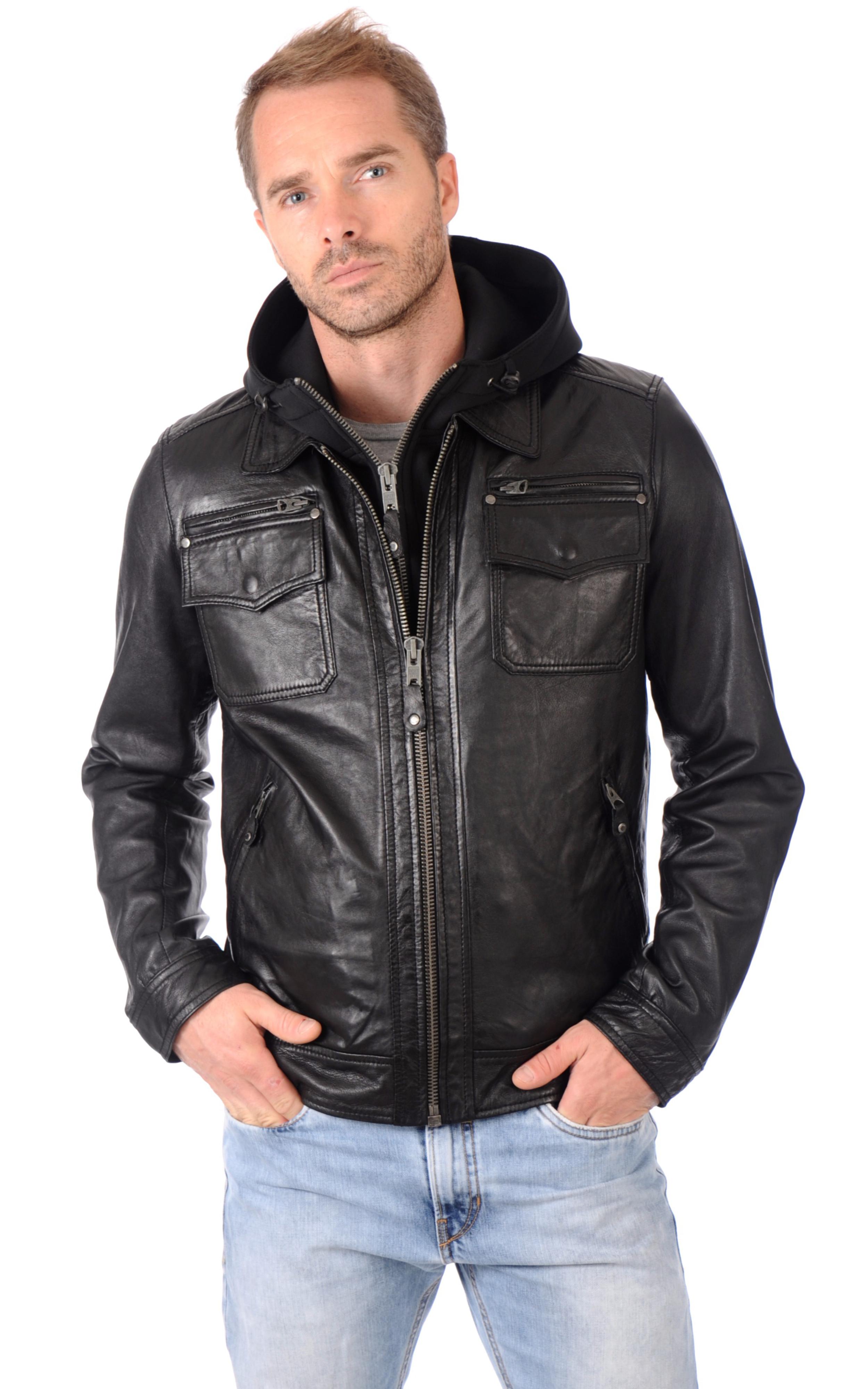 blouson cuir capuche amovible schott la canadienne blouson cuir noir. Black Bedroom Furniture Sets. Home Design Ideas